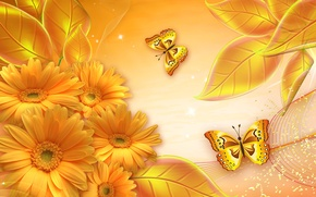 Picture flowers, collage, butterfly