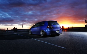 Picture sunset, blue, tuning, the evening, volkswagen, Golf, R32, golf, gti