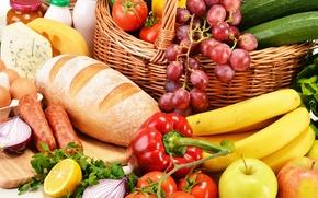 Picture greens, lemon, apples, eggs, cheese, milk, bread, grapes, bananas, pepper, fruit, vegetables, tomatoes, sausage, grape, ...