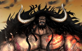 Picture fire, flame, game, One Piece, horns, sky, long hair, pirate, anime, cloud, man, tatoo, captain, …