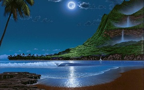 Wallpaper sea, the sky, pastoral, moonlit night, Steven Power
