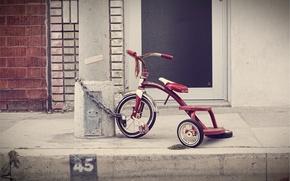 Picture bike, children, post, chain, wheel, three, tricycle