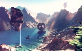 Wallpaper ship, mountains, art, desktopography, endless summer, render, landscape