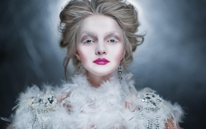 Picture winter, girl, decoration, earrings, feathers, makeup, blonde