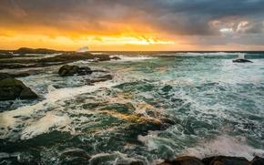 Picture sea, wave, beach, stones