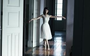 Picture girl, pose, skirt, brunette, ballerina, Pointe shoes