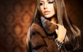 Picture look, girl, makeup, ring, coat, decoration, Anna Subbotina