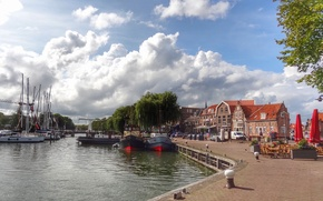 Picture city, street, Netherlands, port, dock, Elevation of IJsselmeer