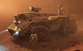 Picture sand, fiction, storm, Mars, astronauts, the astronauts, Rover, the Rover, expedition