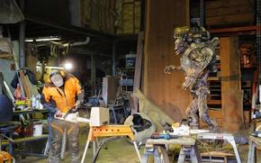 Picture wood, artist, creature, sculpture, DOOM, chainsaws