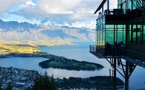 Picture New Zealand, lake, restaurant, viewing platform