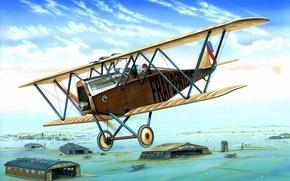 Picture painting, airplane, Ansaldo SVA, aviation, art