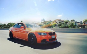 Picture BMW, Orange, Speed, BMW, E92, Fire Orange