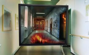 Picture corridor, monitor, screen