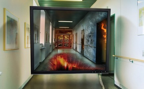 Wallpaper screen, corridor, monitor