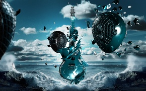 Picture sea, wave, music, guitar, rock