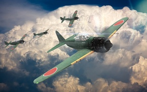 Picture the sky, clouds, the plane, war, fighter, zero, A6M5, war thunder