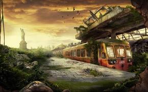 Wallpaper destruction, 156, station, train