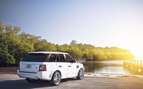 Picture range Rover, sport, Blik, Range Rover, white, Land Rover, trees, Sport, white, river, pier, the ...