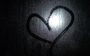 Wallpaper glass, black, drops, heart, love, rain, dark Wallpapers