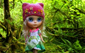 Picture toy, cap, doll, forest, hat, hair
