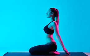 Wallpaper model, pose, workout, yoga, lighting effects