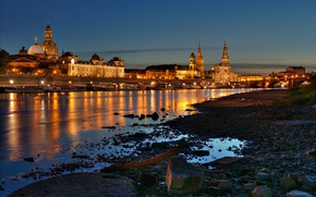 Picture bridge, Germany, home, shore, Germany, Elba, Dresden, the city, lights, boats, night, Dresden, building, river, ...