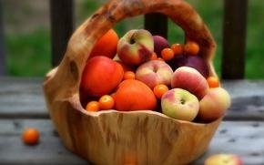 Picture blur, Basket, peaches, apricots