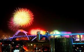 Picture night, bridge, holiday, China, salute, China, Shanghai, Shanghai expo
