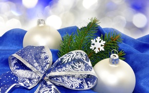 Picture snowflakes, holiday, balls, tree, branch, white, tree, Christmas, Blue bow