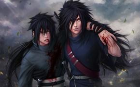 Picture look, leaves, weapons, the wind, blood, guys, wound, Naruto, Naruto, art, Zetsuai89, uchiha powers, izuno …