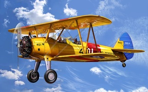 Picture art, airplane, painting, Boeing Stearman