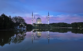 Picture water, reflection, the city, mosque, Malaysia, Shah Alam, Tuah Roslan Photography, Selangor
