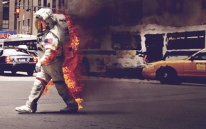 Picture the suit, astronaut, machine, taxi, the city, smoke, street, fire