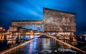 Picture lights, the building, HDR, Night, lights, Iceland, night, Iceland, Reykjavik