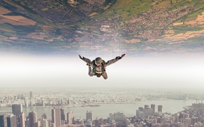 Picture flies, abstraction, skydiver, in the air, soars, creative