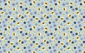 Picture Wallpaper, texture, flowers, bees