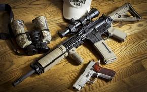 Picture gun, weapons, binoculars, AR-15, BCM, assault rifle, Sig P226