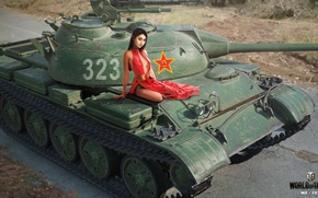 Wallpaper road, girl, figure, easy, dress, art, tank, Asian, in red, Chinese, World of Tanks, Nikita ...