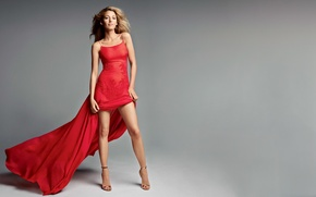 Wallpaper sexy, background, figure, Blake Lively, actress, model, hairstyle, beautiful, in red, shoes, Blake Lively, photographer, ...