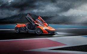 Picture McLaren, Orange, Race, Front, Supercar, Track, Doors, Ligth, Nigth