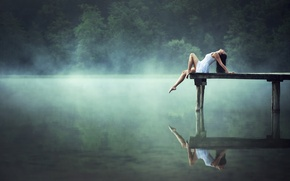 Picture girl, lake, reflection, morning