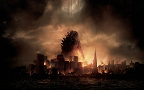 Picture Dark, City, Action, Red, Fantasy, Fire, Legendary Pictures, Sun, Water, Line, Wallpaper, Smoke, Godzilla, Cloud, …