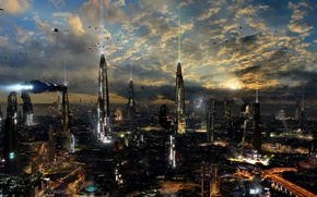 Picture clouds, the city, lights, future, building, road, planet, ships, other worlds, sci-fi, planet, ships, towers, …