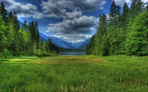 Wallpaper forest, grass, clouds, mountains, lake, Germany, Bayern, Germany, Bavaria, nature., Berchtesgaden, Ramsau bei