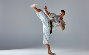 Picture man, kick, martial arts