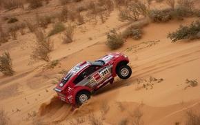 Picture Sand, Red, Auto, Sport, Machine, Race, Mitsubishi, Rally, Dakar, SUV, Rally