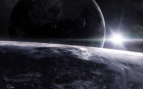 Wallpaper space, surface, star, planet, satellite