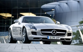 Wallpaper tile, silver, mercedes amg sls63, machine