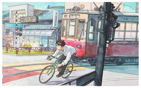 Picture bike, the city, Japan, watercolor, tram